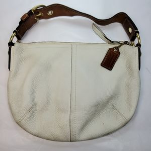 COACH IVORY PEBBLED LEATHER HOBO STYLE BAG